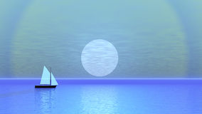 Sailing boat by sunset - 3D render. Simple sailing boat floating left to right by blue sunset over the ocean stock illustration
