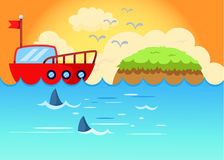 Sailing boat with sunset. Illustration of sea scape  sailing boat with sunset Royalty Free Stock Photo