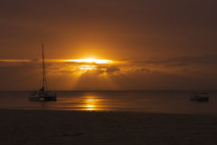 Sailing boat sunset at Moreton Island, Australia Stock Images