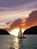 Sailing boat and sunset Royalty Free Stock Images