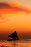 Sailing boat sunset silhouette Royalty Free Stock Photo