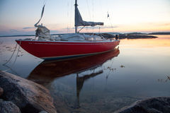 Sailing boat in the Swedish archipelago stock images