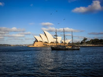 Sailboat at Sydney opera house Stock Images
