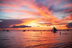 Sailing boat to the sunset in Boracay island on Stock Image