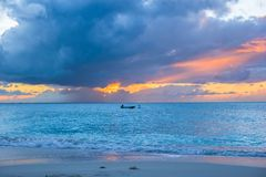 Sailing boat to the sunset in Providenciales on Turks and Caicos Stock Images