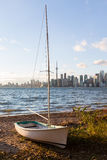 Sailing boat on Toronto Islands with city Stock Photography