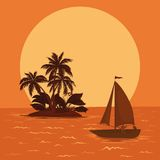 Sailing boat in the tropical sea Royalty Free Stock Images