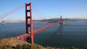 Sailing boat under Golden Gate bridge. View at Golden Gate Bridge - San Francisco, California stock video