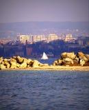 Sailing boat in Varna lake Royalty Free Stock Photo