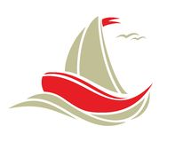 Sailing boat. Vector illustration of the Sailing boat Stock Images