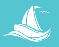 Sailing boat. Vector illustration of Sailing boat Royalty Free Stock Photo