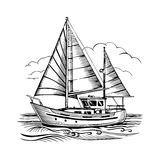 Sailing boat vector sketch isolated with clouds and stylized wav stock illustration