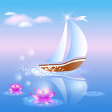 Sailing boat and violet lilies. Against a pink dawn Stock Photography