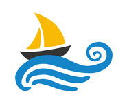 Sailing boat on the water,  logo Royalty Free Stock Photography