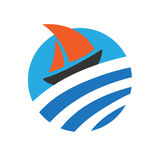 Sailing boat on the water, logo Royalty Free Stock Images