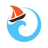Sailing boat on the water, logo Stock Image