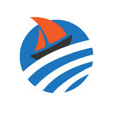 Sailing boat on the water, logo Royalty Free Stock Photos