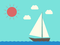 Sailing boat, water, sun. Sailing boat with white sail. Clouds, waves and sun. Travel, vacation and yachting. EPS 8 vector illustration, no transparency Stock Photo