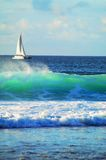 Sailing Boat and Wave Stock Photo