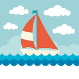 Sailing Boat on Waves Stock Photo