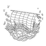 Sailing Boat on Waves in harbor vector decorative royalty free illustration