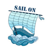 Sailing Boat on Waves, vector decorative Royalty Free Stock Photo