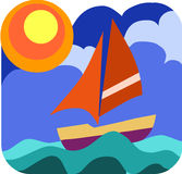 Sailing boat in the wavy sea. Illustration Stock Photos