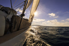 Sailing boat wide angle view Royalty Free Stock Image