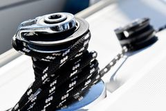 Sailing boat winch Stock Photo