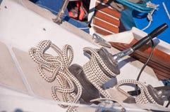 Sailing boat winch with a main sail Royalty Free Stock Image