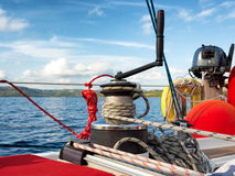 Sailing boat winch with rope Royalty Free Stock Photos