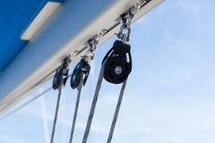 Sailing boat winches and ropes Royalty Free Stock Photo