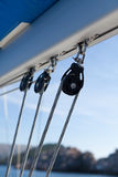 Sailing boat winches and ropes Stock Image