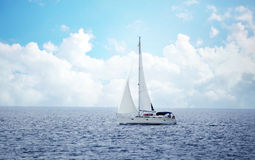 Sailing boat in the wind Royalty Free Stock Photo