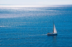 Sailing boat in the wind. At Dubrovnik - Croacia Stock Photo
