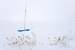 Sailing Boat in Winter Stock Photo