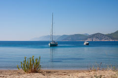 Sailing boat and yacht Stock Images