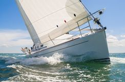 Sailing Boat Yacht. Close up of sailing boat, sail boat or yacht at sea royalty free stock photography