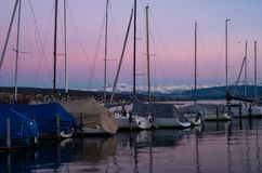 Free Sailing Boat Yacht Dock Pier Calm Water At Dusk Stock Photo - 145765110