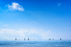 Sailing boat yacht regatta race on sea or ocean water Royalty Free Stock Photos