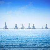 Sailing boat yacht regatta in sea or ocean. Royalty Free Stock Photo