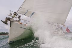 Sailing Boat Yacht in Rough Sea Waves Stock Photography