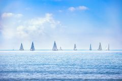 Sailing boat yacht regatta race on sea or ocean water Royalty Free Stock Photography