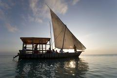Sailing boat in Zanzibar africa. At sunset Stock Photo