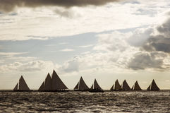 Sailing boats 10. Boat race in open sea Royalty Free Stock Photos