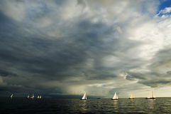 Sailing boats 12. Boat race in open sea Stock Photos