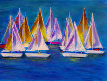 Sailing boats. Pastel painting about sailing boats vector illustration