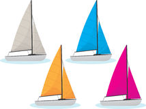 Sailing Boats. In four different colors stock illustration