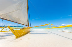 Sailing boats. Traditional paraw sailing boats on white beach on boracay island, Philippines Royalty Free Stock Images