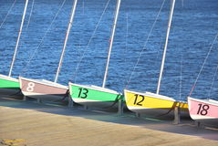 Sailing boats. Several sailing boats resting in a dock Stock Image
